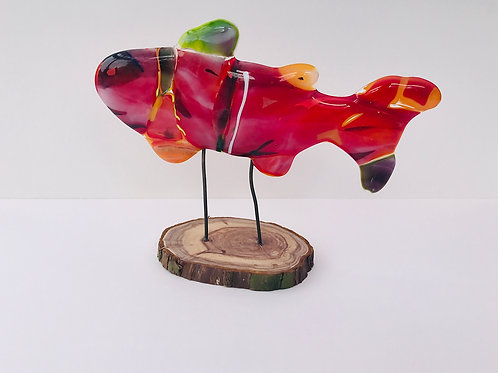 Red Fused Glass Fish