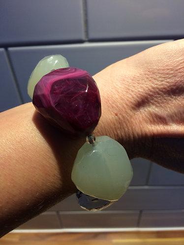 Large Beaded Bracelet Purple & Smokey Beads