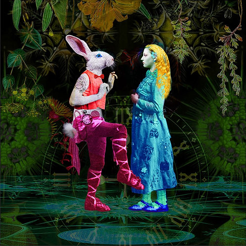 Ashley Cook - Alice Meets the White Rabbit Digital Print