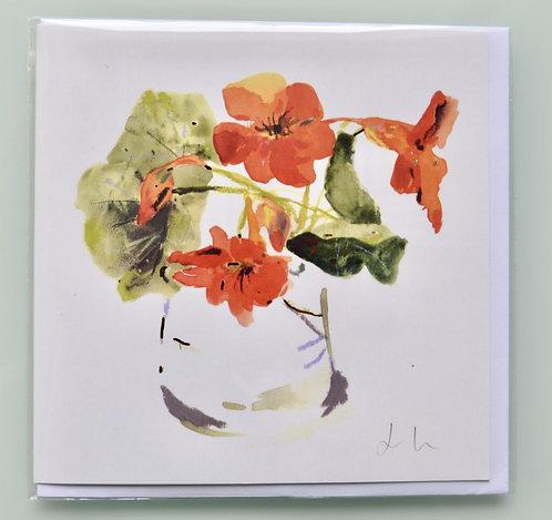 Jenny Hunter - Gold Foil Greeting Card NasturtiumWatercolour Design