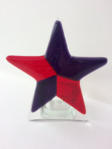 Red/Purple Star T-Light Candle Holder