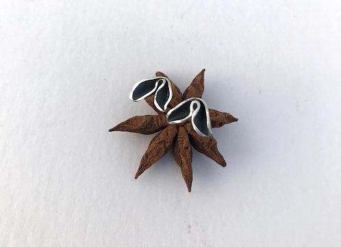 Ann Hume - Oxidised Silver Petal Stud Earrings
