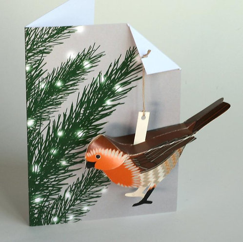 Pop Up Card - Robin in Xmas Tree