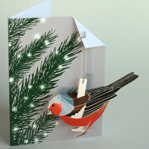 Pop Up Card - Chaffinch in Xmas Tree
