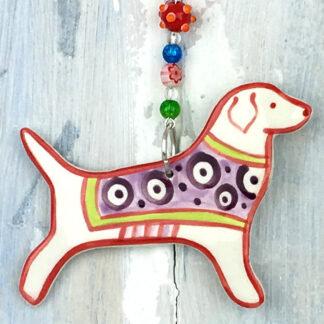Ceramic Coloured Dog Hanging