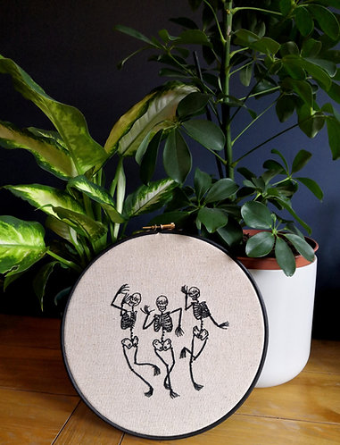 Gem Travers - The Skeleton Dance, Embroidery on 238gsm Linen