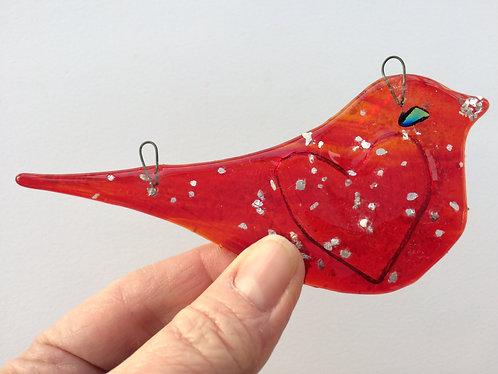 Glitter Red Heart Bird