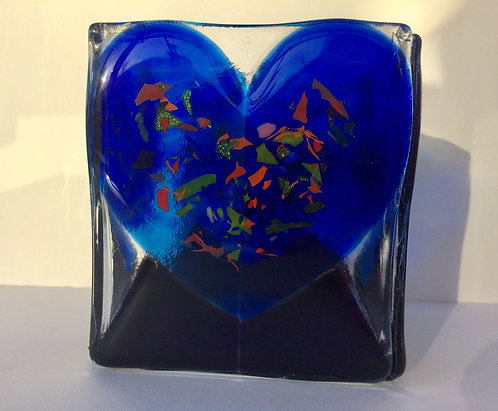 Blue Heart Candle Box