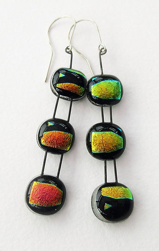 Fused Glass 3 Tier Hanging Earrings