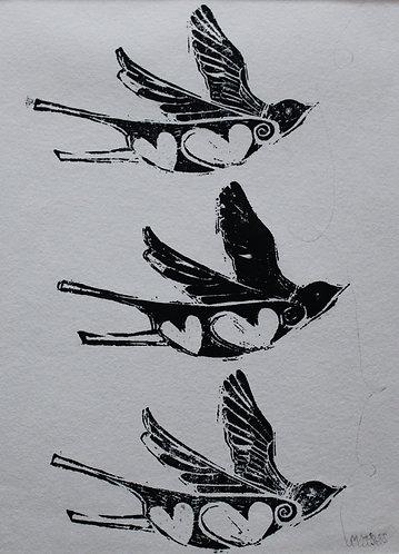 Maree Hughes - 3 Little Birds, Linocut
