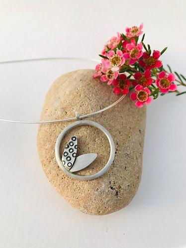 Ann Hume - Silver Circular Pendant with Botanical Detail