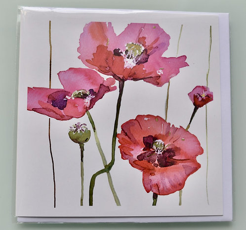Jenny Hunter - Gold Foil Greeting Card Red Poppies