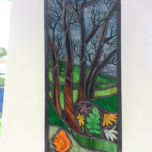 Landscape with Squirrel - Copper foil & Lead window panel