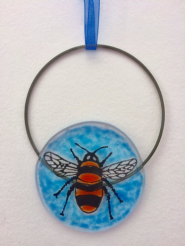 Fused Glass Bee Circle Hanging