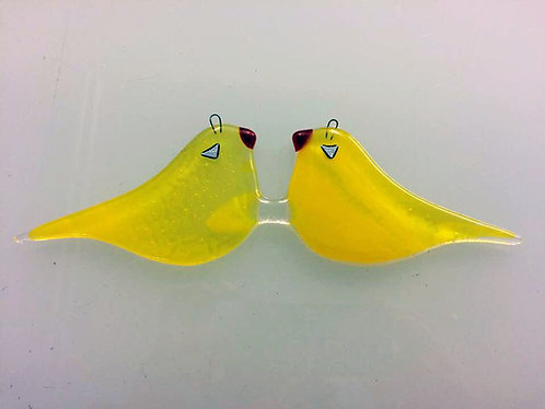 Fused Glass Hanging Love Birds - Yellow
