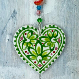 Green Marigold Heart Ceramic Hanging