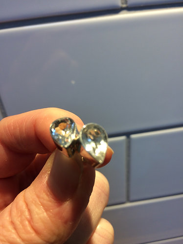 Silver Tear Drop cut Rock Crystal Stud Earrings