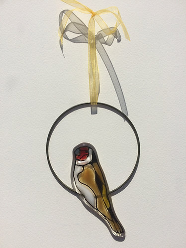 Fused Glass Goldfinch Circle Hanging