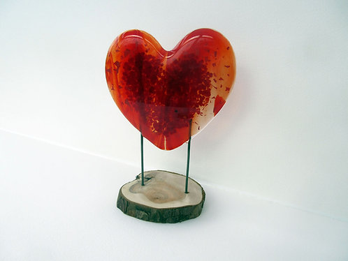 Fused Glass Standing Heart with Frit