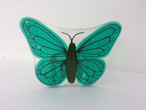 Fused & Teal Green Butterfly T-Light Holder