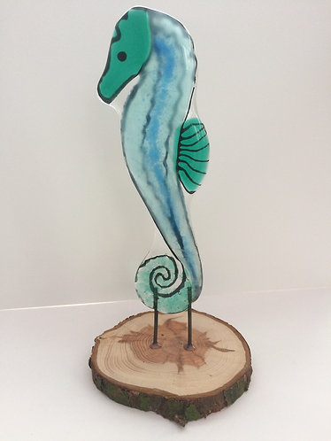 Standing Fused Glass SeaHorse