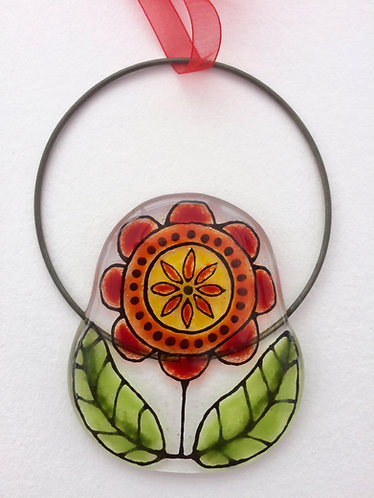 Fused Glass Red Flower Circle Hanging