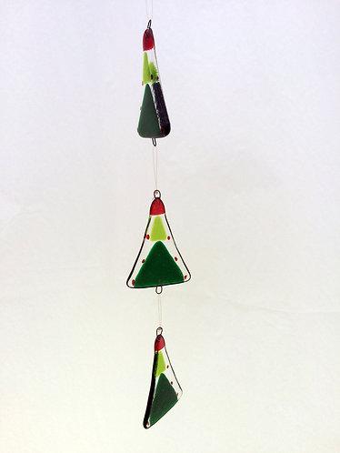 Fused Glass Hanging Trio Xmas Trees