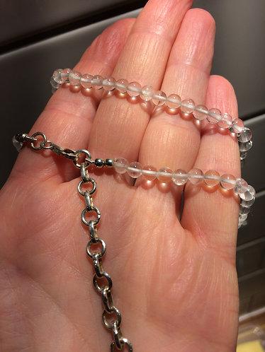 """Rock Crystal Bead Necklace 9"""" Drop"""