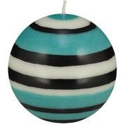 Jet Black, Pearl & Honey Bird Blue Small Striped Ball Candle