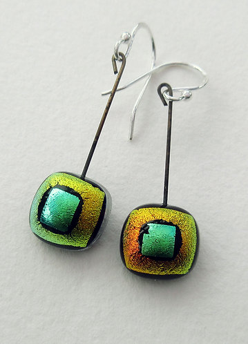 Two Tone Small Square Hanging Earrings