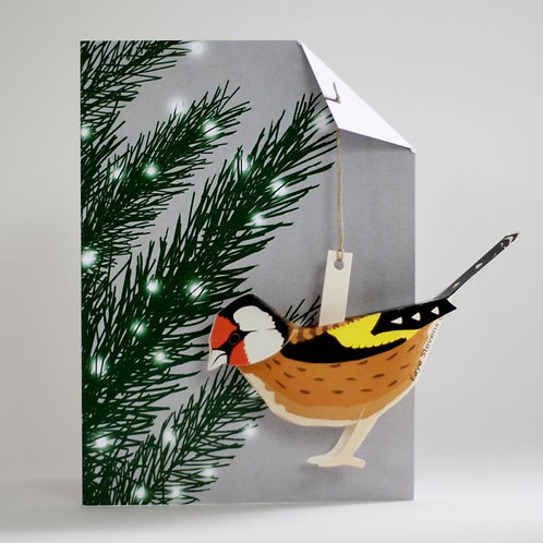 Pop Up Card - Goldfinch in Xmas Tree