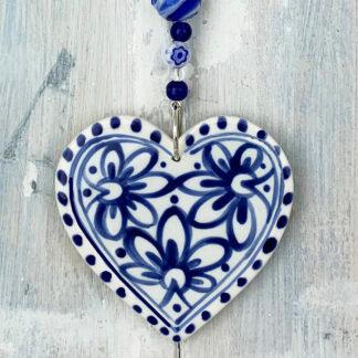 Blue & White Marigold Ceramic Heart