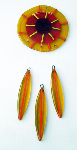 Fused Glass Garden Hanging - Amber, Orange, Red
