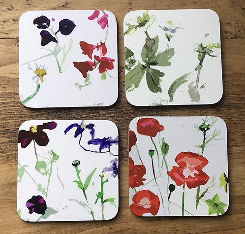 Jenny Hunter -Box of 4 Flower Coasters