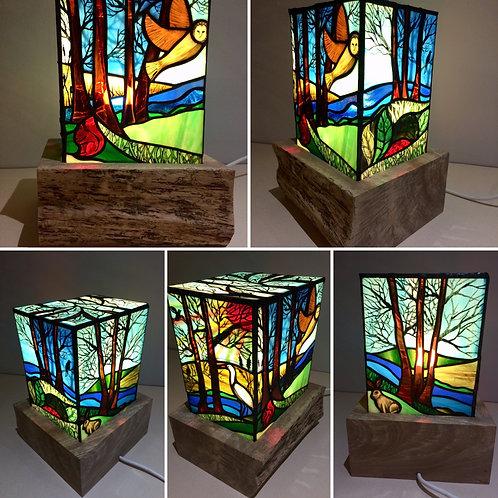 Landscape Table Lamp on Solid Wood Base