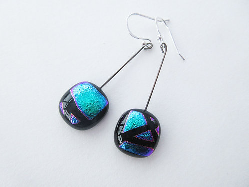 Fused Dichroic Glass Square Hanging Earrings