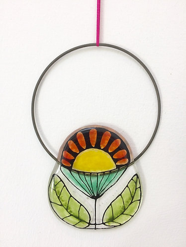 Fused Glass Flower Circle Hanging