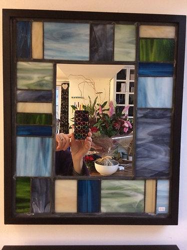 Framed Mirror in Blues & Greys