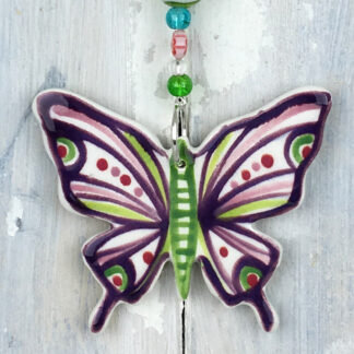 Purple Ceramic Hanging Butterfly