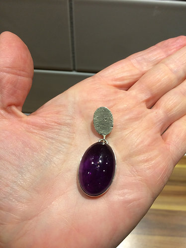 Silver Pendant with large Oval Amethyst Cabochon