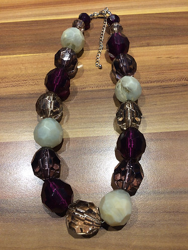 Chunky Round Beaded Necklace Smokey Purples