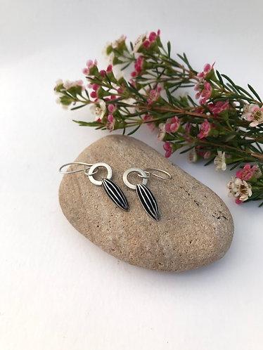 Ann Hume - Oxidised Seed Pod Drop Earrings on Hoop