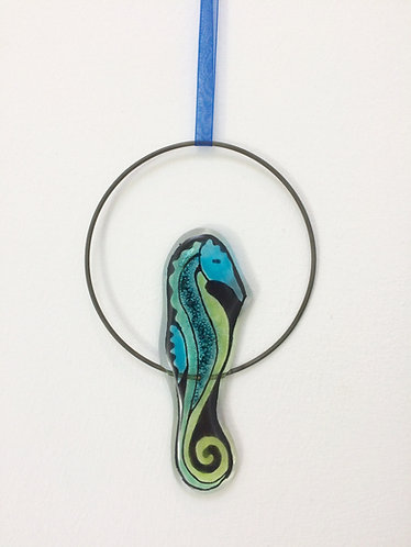 Fused Glass Seahorse Circle Hanging