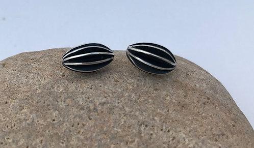 Ann Hume - Oxidised Oval Seed Pod Stud Earrings