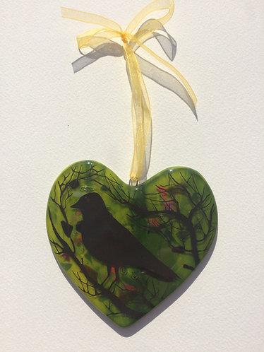 Handpainted Blackbird Heart - Green or Blue