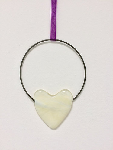 Fused Glass French Vanilla Heart Circle Hanging