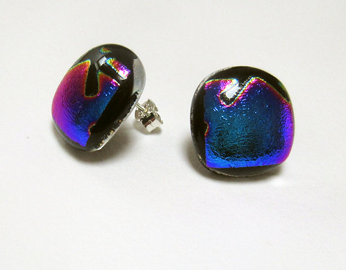 Fused Dichroic Glass Square Stud Earrings