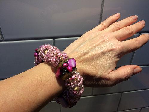 Pink Wood, Bead & Mother of Pearl Bracelet