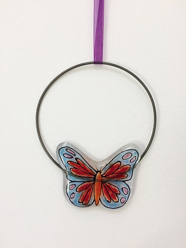 Fused Glass Butterfly Circle Hanging