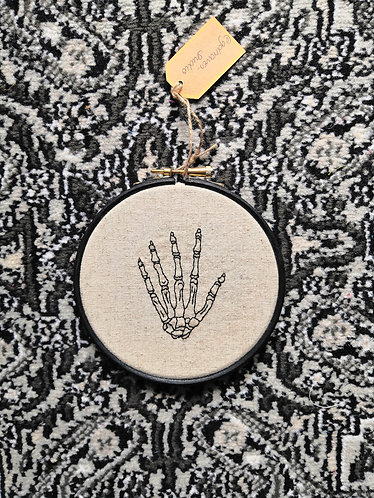Gem Travers - Skeleton Hand on Linen, Embroidery on 238gsm Linen